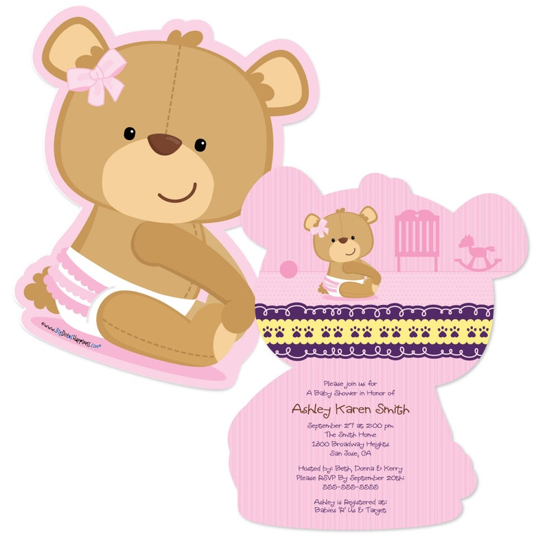 ff0763a9e47 Girl Teddy Bear Custom Invitations Printed Personalized Baby