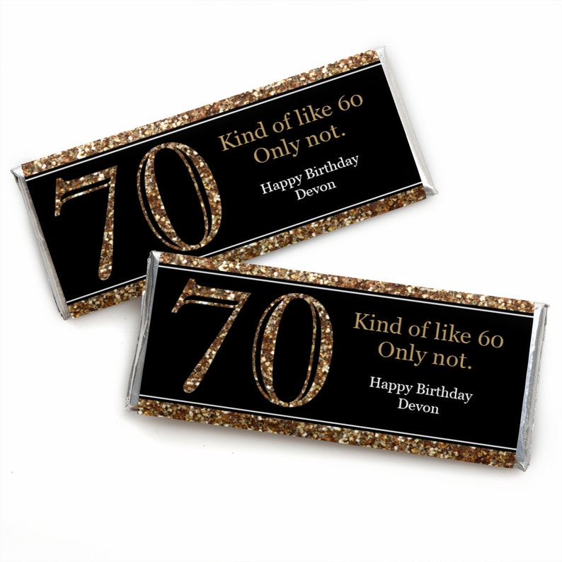 70th Birthday Candy Bar Wrappers Adult Gold