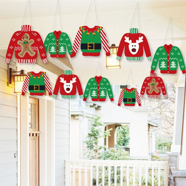 Hanging Ugly Sweater - Outdoor Christmas Porch & Tree Yard Decorations - Holiday Tree Ornaments - Hanging Ugly Sweater Decor - 10 Piece Set