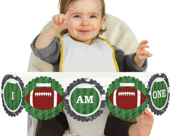 Football - 1st Birthday - I Am One - First Birthday High Chair Banner - First Birthday Party Decorations