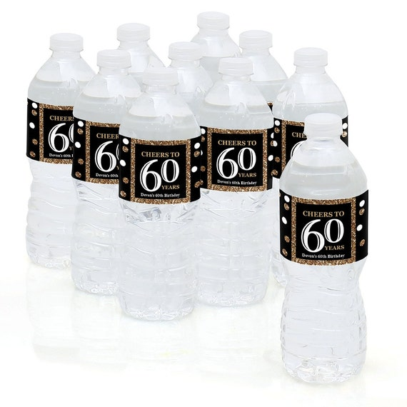 60th Birthday Party Water Bottle Sticker Labels