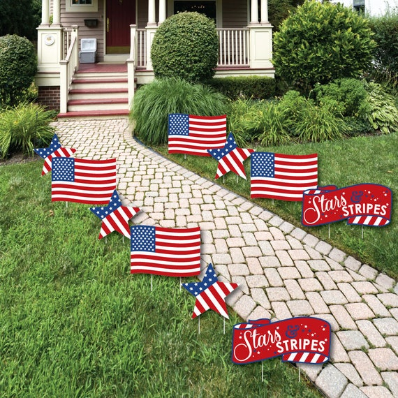 Stars Stripes American Flag And Star Shaped Lawn