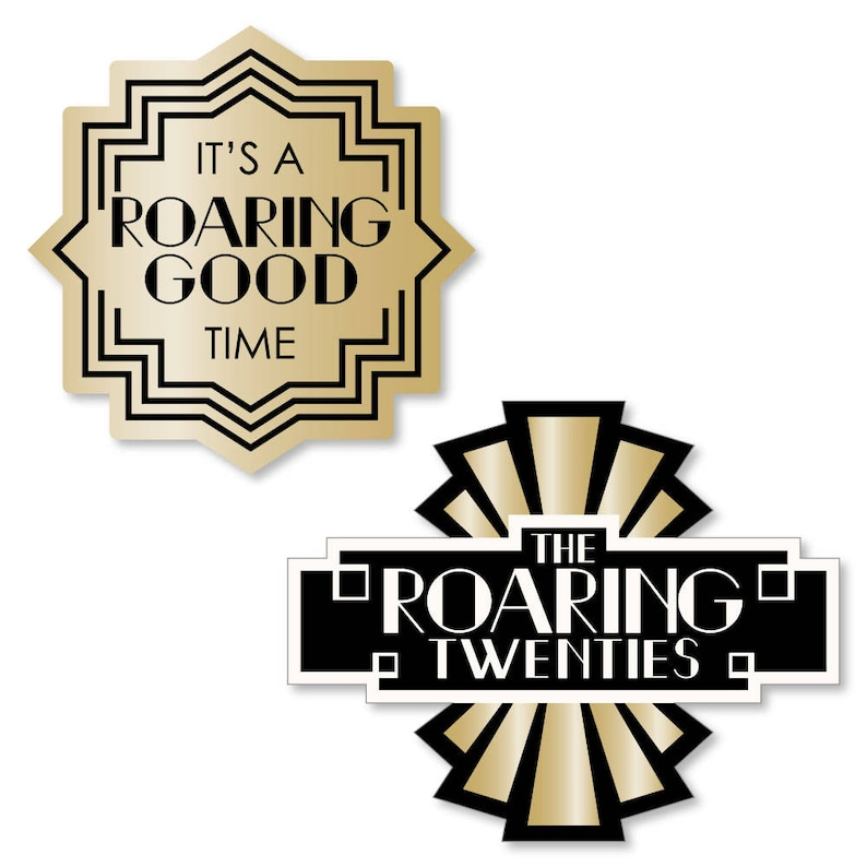 DIY Shaped 1920s Art Deco Jazz Cut-Outs Great Gatsby Roaring 20/'s Flapper Era 24 pc Twenties Party 24 ct DIY Party Supplies