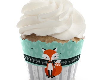 Mr. Foxy Fox Cupcake Wrappers - Baby Shower Cupcake Decorations - Birthday Party Cupcake Supplies - Set of 12 Cupcake Liners
