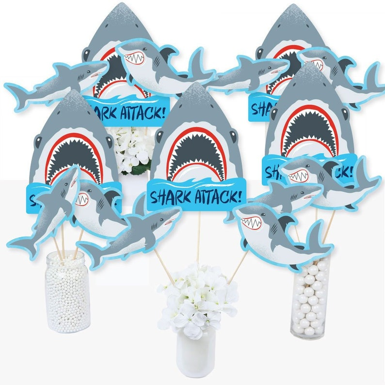 Jawsome Shark Viewing Week Party or Birthday Party Table Toppers Centerpiece Sticks Shark Themed Party Supplies -15 Ct Shark Zone