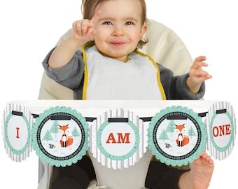 Mr. Foxy Fox - 1st Birthday - I Am One - First Birthday High Chair Banner - First Birthday Party Decorations