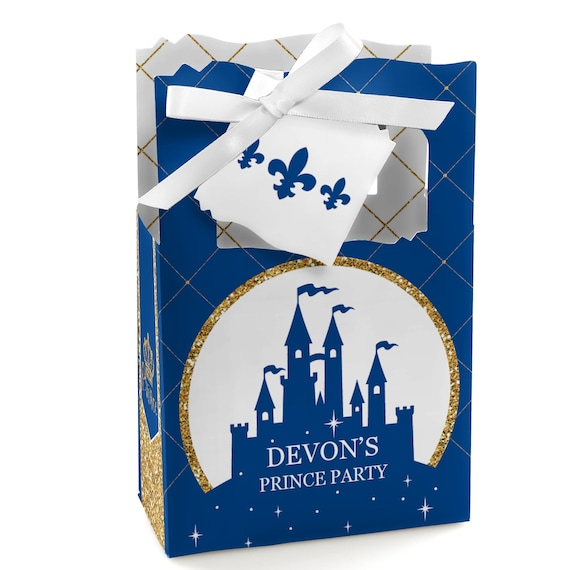 Royal Prince Charming Favor Boxes Personalized Navy And Gold