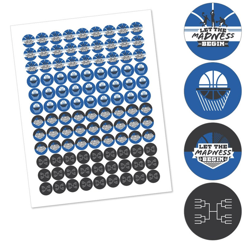 Labels Fit Hershey\u2019s Kisses 1 sheet of 108 College Basketball Party Round Candy Sticker Favors Let the Madness Begin Blue Basketball