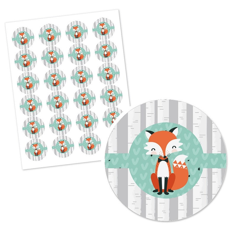 24 Custom Mr Foxy Fox Circle Stickers Personalized Baby Shower and Birthday Party Supplies