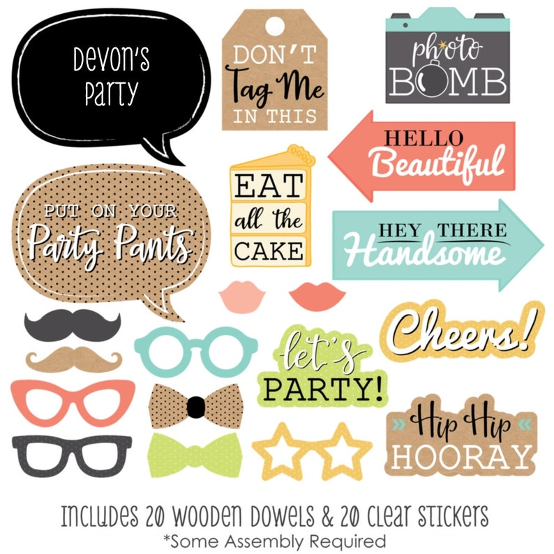 Put On Your Party Pants Photo Booth Props 20 pc Hat Glasses and Custom Talk Bubble Prop Kit with Mustache Bow Tie