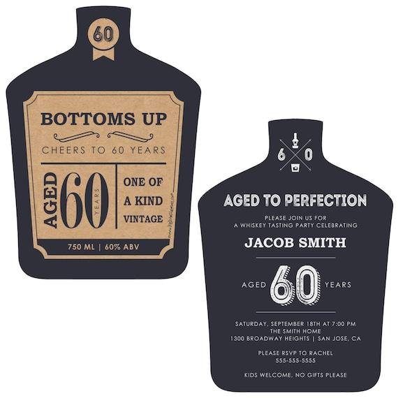 60th milestone birthday aged to perfection invitations etsy