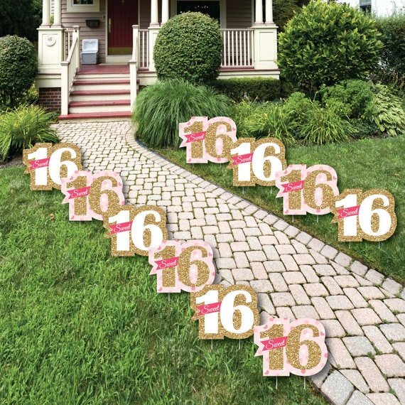 Sweet 16 Lawn Decorations Outdoor Birthday Party Yard