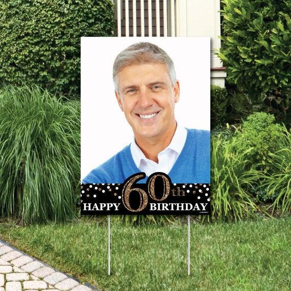 Adult 60th Birthday Gold Photo Yard Sign Outdoor Lawn