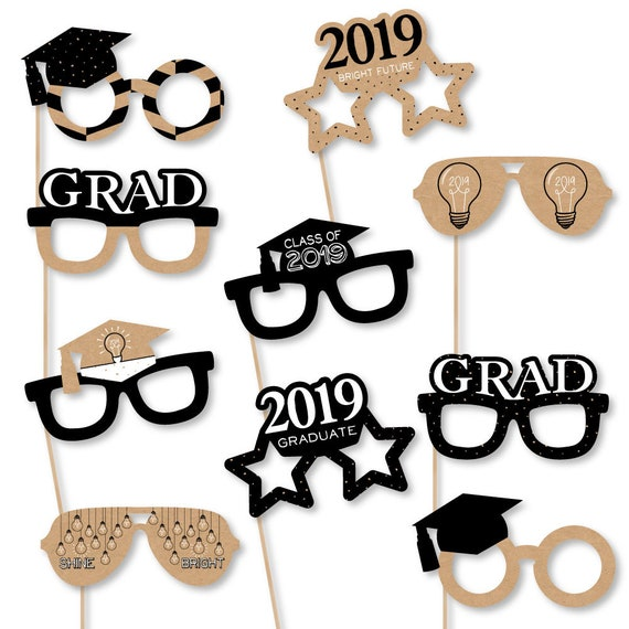 a3864d39c0f Bright Future - Graduation Party Glasses - 2019 Grad Photo Booth Accessories  - Fun Selfie Card Stock Paper Graduation Props - 10 Pc