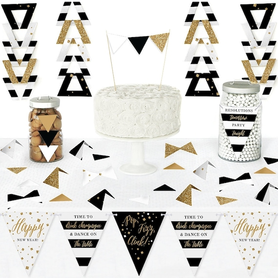 New Year's Eve - Gold - Diy Pennant Banner Decorations ...