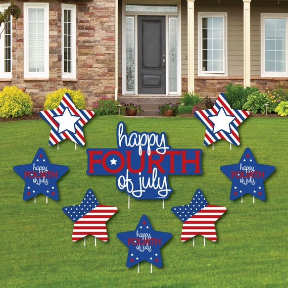 4th Of July Shaped Lawn Decorations Outdoor Independence