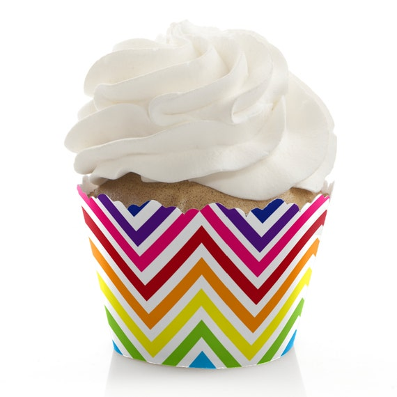 4ac22c74170d Chevron Rainbow - Baby Shower Cupcake Decorations and Supplies - Birthday  Party Cupcake Liners - Bridal Shower Cupcake Wrappers - Set of 12