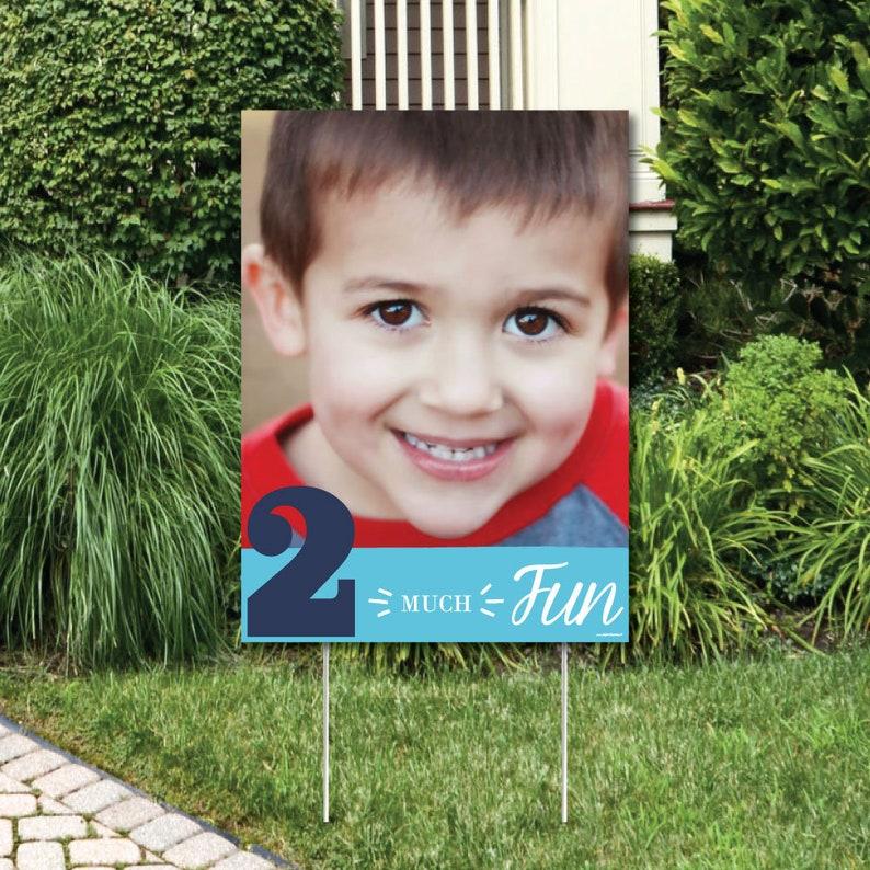 2nd Birthday Boy Two Much Fun Photo Yard Sign Outdoor Lawn