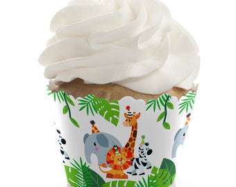 Jungle Party Animals - Cupcake Wrappers - Baby Shower Cupcake Decorations - Birthday Party Cupcake Supplies - Safari Zoo Animals - 12 Liners