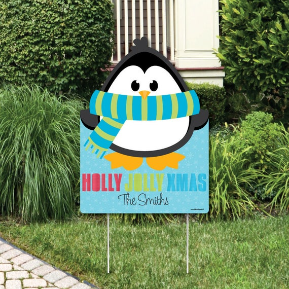 Holly Jolly Penguin Welcome Sign Christmas Party Outdoor Lawn Decorations Holiday Party Decoration North Pole Penguin Lawn Art By Big Dot Of Happiness Catch My Party