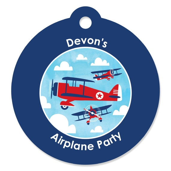 Airplane Birthday Party Favor Tags: Airplane Craft Tags
