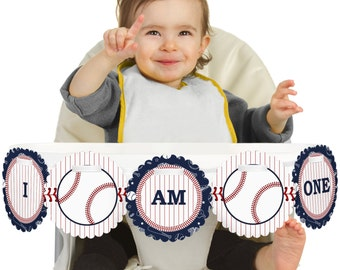 Batter Up! Baseball - 1st Birthday - I Am One - First Birthday High Chair Banner - First Birthday Party Decorations