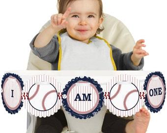 Batter Up! Baseball - 1st Birthday - I Am One - First Birthday High Chair Banner - First Birthday Party Decorations