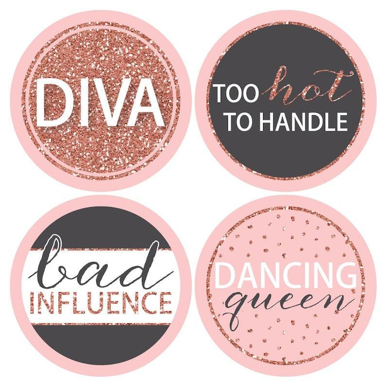 Rose Gold Bridal Shower Badges Name Tag Stickers Rose Gold Bridal Shower or Bachelorette Party Name Badges Bride Squad 12 Ct.