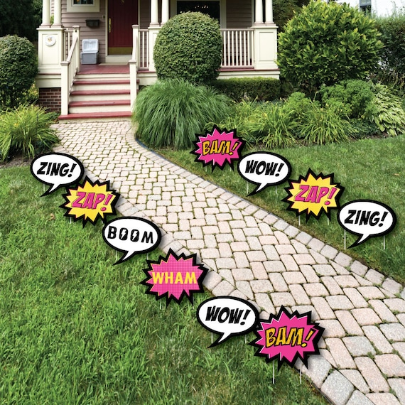 BAM! Girl Superhero - Lawn Decorations - Outdoor Baby Shower or Birthday Party Yard Party Decorations - Shaped Lawn Ornaments - 10 Pc.