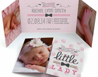 Set of 12 - Baby Girl Photo Birth Announcement - Darling Little Lady Custom Baby Announcement