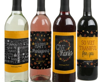 Give Thanks - Custom Holiday Wine Bottle Labels for Thanksgiving Parties - Set of 4 Personalized Sticker Labels