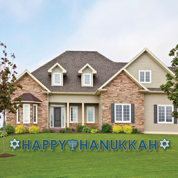 Happy Hanukkah Yard Sign Chanukah Decorations Outdoor