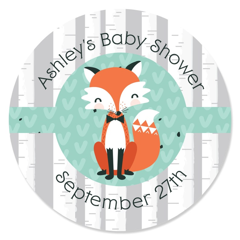 aec3da1f3f 24 Custom Mr. Foxy Fox Circle Stickers Personalized Baby | Etsy