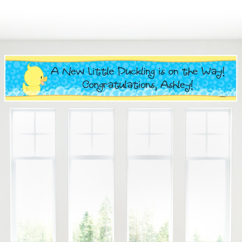 Ducky Personalized Banner Baby Shower Banner Decorations Personalized Rubber Ducky Party Decorations Custom Birthday Party Banner