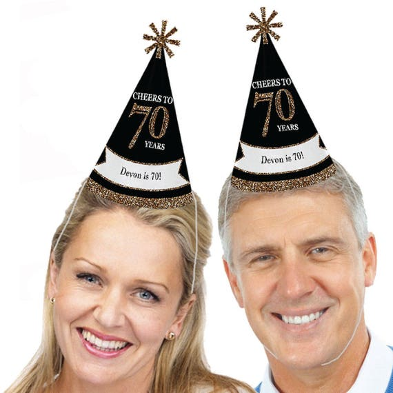 70th Birthday Party Hats Adult Gold Cone