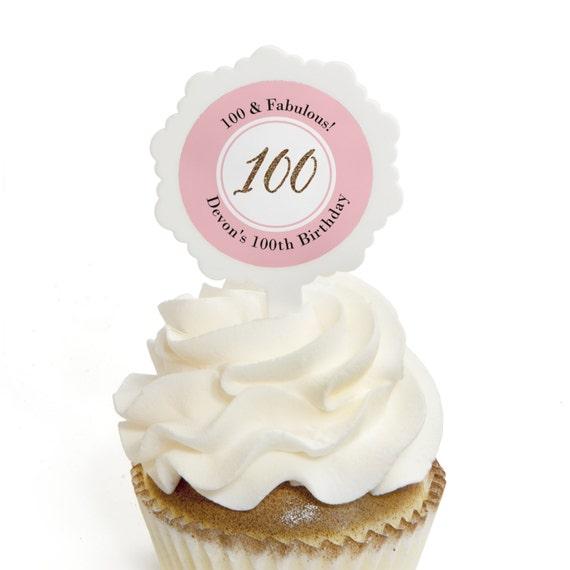 Chic 100th Birthday Pink And Gold Cupcake Picks