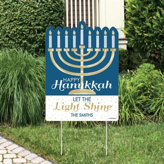 Hanukkah Lawn Decorations Personalized Chanukah Yard Sign