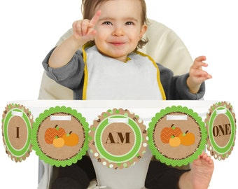 Pumpkin Patch - Fall or Thanksgiving - 1st Birthday - I Am One - First Birthday High Chair Banner - First Birthday Party Decorations