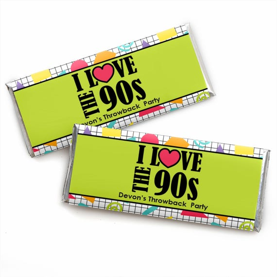 90's Throwback - 1990s Party Candy Bar Wrappers