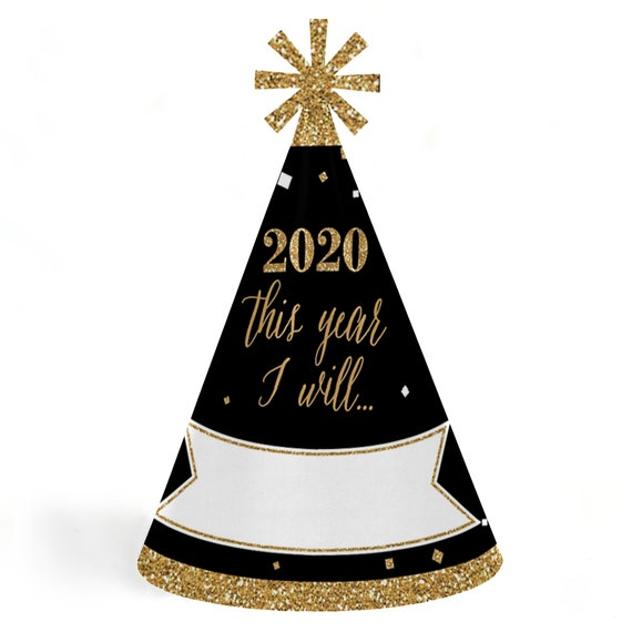 2020 New Years Resolution Party Hats - New Year's Eve Gold ...