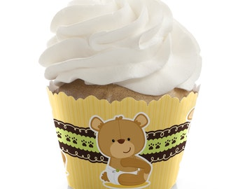 Teddy Bear Cupcake Wrappers - Baby Shower Cupcake Decorations - 1st Birthday Party Cupcake Supplies - Set of 12 Cupcake Liners