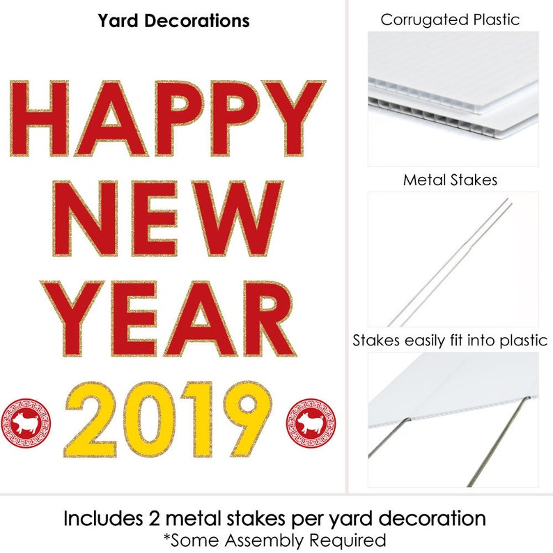 2019 Year of the Pig Lawn Decor New Year Yard Art Decorations HAPPY NEW YEAR 2019 Chinese New Year Yard Sign Outdoor Decor