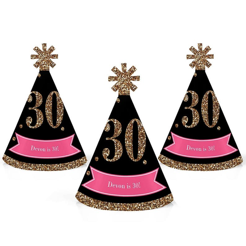 30th Birthday Party Personalized Mini Cone Hats