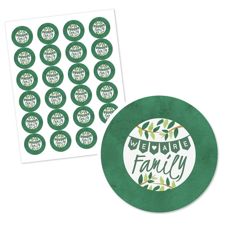 24 Ct Custom Circle Sticker Labels Family Tree Reunion Personalized Family Gathering DIY Craft Sticker Label Supplies