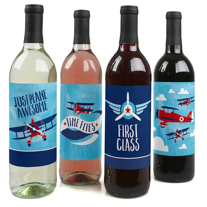 Airplane Vintage Plane Baby Shower or Birthday Party Wine Gifts Set of 4 Sticker Labels Wine Bottle Labels Taking Flight