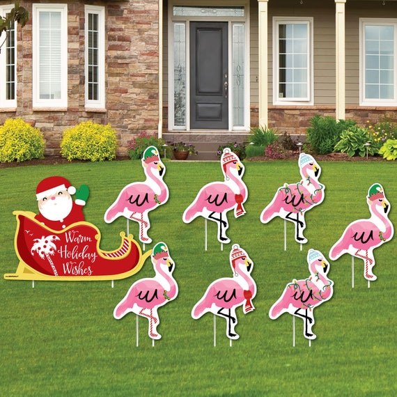 Flamingo Shaped Lawn Decorations Outdoor Christmas | Etsy