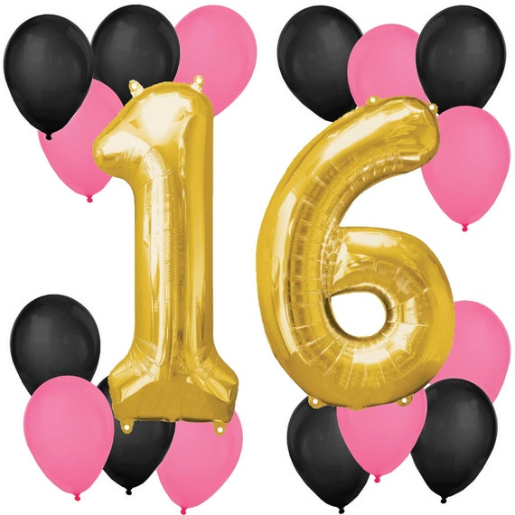Chic 16th Birthday Pink Black And Gold Balloon