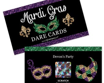 Mardi Gras - Scratch Off Game - Masquerade Party Game Cards - Fat Tuesday Dare Cards - 22 Cards
