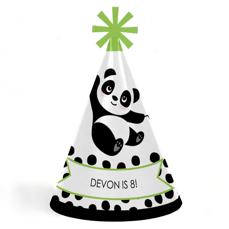 Personalized Panda Birthday Supplies Birthday Party Hats Party Like a Panda Bear Standard Size Set of 8 Panda Cone Party Hat