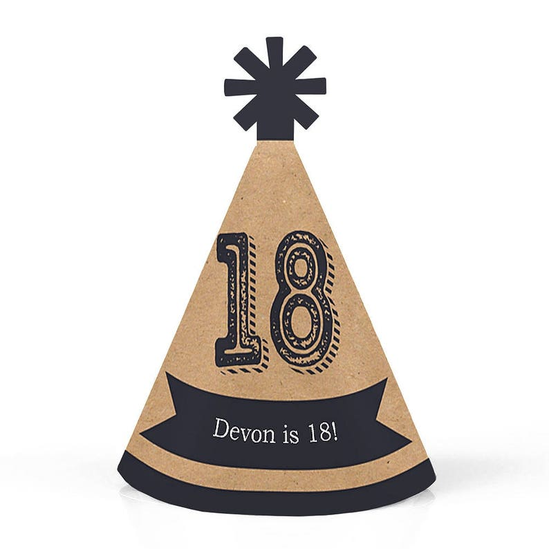 18th Birthday Party Personalized Mini Cone Hats